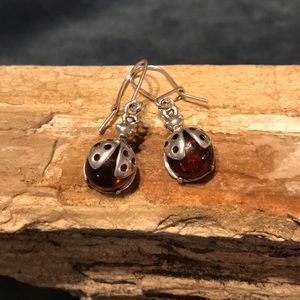Jewelry - Sterling Silver & Amber Ladybug Earrings
